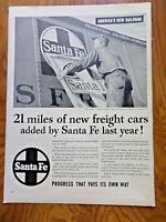 1953 Santa Fe Railroad Ad 21 Miles of New Freight Cars Added by SF Last Year