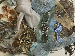 Assorted Appliques Panel Trim Pieces Caramel Blue 1 Grab Bag