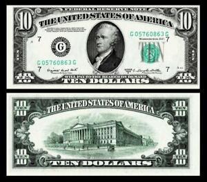 1950-C $10 DOLLAR BILL FRN ~GREEN SEAL~CRISP ~GEM UNCIRCULATED