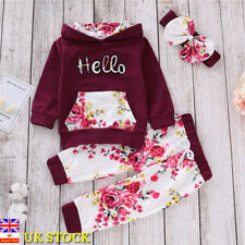 3PCs Baby Girls Kids Outfit Tracksuit Floral Hooded Tops+Pants+Headband Clothes
