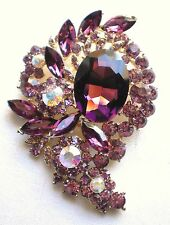 BRAND NEW VINTAGE INSPIRED GOLD PLATED  LARGE STATEMENT PURPLE RHINESTONE BROOCH