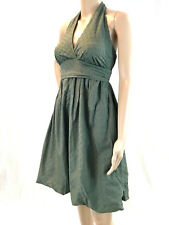 BCBG MAXAZRIA XS Dress Cotton Green Halter Eyelet