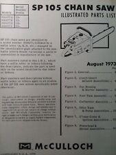 Mcculloch Chain Saw Sp 105 600077 Parts Manual 2 Cycle Gasoline Chainsaw 1973