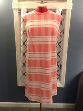 """Vintage """"Brief Notes"""" 1960's Orange & White Graphic Ckeck """"Jackie-O"""" Shift Dress"""