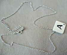 """""""A"""" Scrabble Piece Pendant Necklace Vintage Costume Jewellery - 2x2cm Letter"""