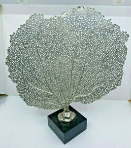 Fan Coral Sculpture Silver Metal Black Marble Base Sea Life Ocean Reef Amazing!