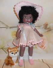 "13"" PETITE American Character Chocolate AA Composition 30's DOLL in PINK organdy"