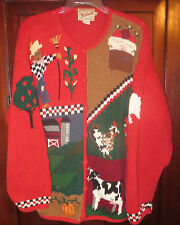 Woolrich M L Cardigan Sweater Button Scarecrow Pumpkins Cow Chickens Farm Red