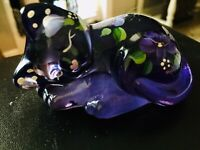 Art Glass Cat Hand Painted Signed