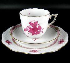 Herend Porzellan Kaffeegedeck 3-tlg. Dekor Apponyi purpur Chinese Bouquet Purple