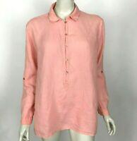 Eileen Fisher Irish Linen Popover Shirt Long Sleeve Coral Top Shirt Women Small