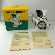 Vintage Rhythm Japan Clock Black White cat rise and shine w/ Trumpet NEW in box