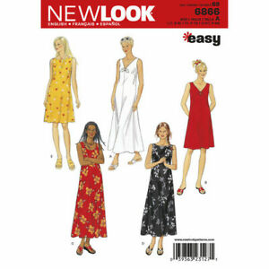 New Look Sewing Pattern 6866 Misses 10-24 Easy Loose Pullover Dresses 5 Styles