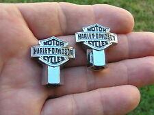 HARLEY DAVIDSON METAL TYRE VALVE CAPS PAIR Badge Emblem Tire *BRAND NEW*