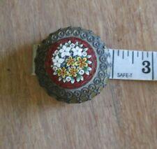 Antique Vintage Daisies Floral Micro Mosaic Brass Pill Trinket Dresser Box w/lid