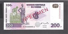 Congo p-95 , UNC , 200 Francs, 2000,  SPECIMEN !!