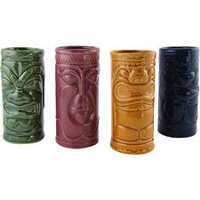 Ceramic Tiki Mugs – Set of 4 - 10 oz - Colorful Tribal Luau Party Bar Drinkware