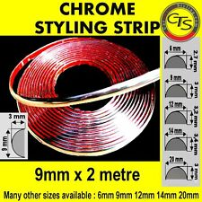 9mm x 2m CHROME CAR STYLING MOULDING STRIP TRIM ADHESIVE