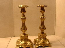 Museum Quality German Judaica Gold Plated Sabbath Candlesticks Signed M Jarra