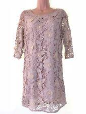 BNWT NEXT Petites nude beige floral applique leave beaded shift dress size 8 £80