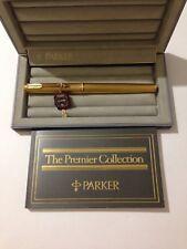 PARKER PREMIER GOLD PLATED GRAIN D ORGE 18K MEDIUM FOUNTAIN PEN-BOXED-SUPERB.