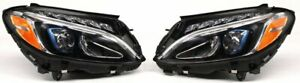 OEM Mercedes-Benz C-Class Right Left Side Pair Set LED NON-adaptive Headlamps