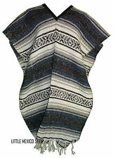 Traditional Mexican Poncho - NAVY BLUE - ONE SIZE FITS ALL Blanket Serape Gaban