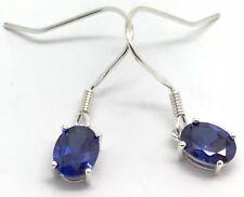 Siberian quartz tanzanite colour Oval Cut drop earrings solid Sterling Silver