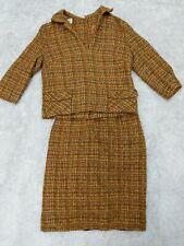 Vintage Skirt Suit Set Xs Orange 3/4 Sleeve Pencil Skirt