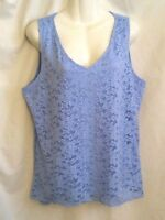 NEW WOMEN'S ELLEN TRACY COMPANY BLUE LINED LACE SLEEVELESS STRETCHY TOP XL $69