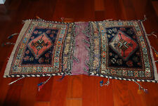 Antique Turkish Kazak Afghan Caucasian Tribal Wool Double Camel Saddle Bag Rug
