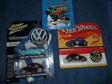 4 CAR LOT JOHNNY LIGHTNING VW KARMAN GHIA & SPLIT WINDOW BEETLE SUPER CHROMES +