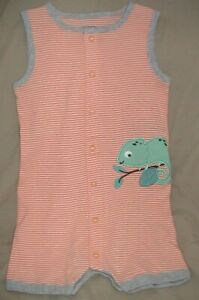 CARTER'S ORANGE & WHITE STRIPED SHORTS ROMPER WITH CHAMELEON-SIZE 6 MONTHS-NWT