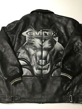 Vintage Avirex Leather Black Jacket 4XL Fox Patch Hip Hop Rap
