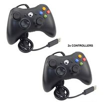 2 Negro Nuevo Controlador USB con cable para MICROSOFT Xbox 360 PC Windows