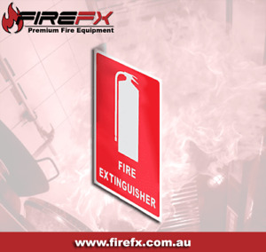 Right Angle Fire Extinguisher Location Sign