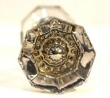 Antique Crystal Door knob Set Hardware Victorian Style Doorknob 8 Point Rounded