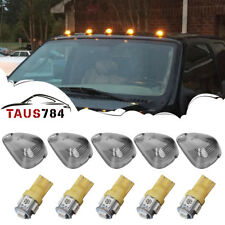 5 Roof Running Light Cab Marker Smoke Cover +Amber LED Bulb For Ford F-350 F-450