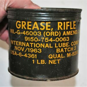 NOS Vintage 1963 Vietnam Era US Military Rifle Grease, 1 LB. Can - MIL-G-46003