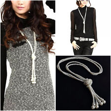 Lady Multilayer Pearl Tassel Pendant Knotted Long Sweater Chain Jewelry Necklace