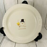 Hallmark Snowman Yum-m-mies 7.5 In Snowflake Embossed Christmas Cookie Plate