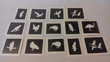 30 x bird mini small stencils for glitter tattoos / airbrush  owl parrot penguin