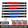 6PC Socket Organizer Mountable Sliding Holder Rail Rack Tool Storage 1/4 3/8