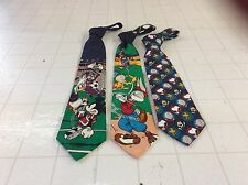 LOT OF 3 NECK TIES - MICKEY MOUSE & LOONEY TUNES & CHARLEY BROWN NICE COLORS !!