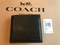 COACH F12021 Men's Double Billfold Wallet $178 Buffalo Embossed Textured Leather