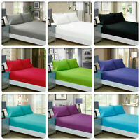 60cm Deep Wall Fitted Sheet- 1000TC EgyptianCotton Solid Color AU King/Queen/ DB