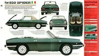 FIAT 850 Spider SPEC SHEET / BROCHURE / Pamphlet: 1968, 1969, 1970,...
