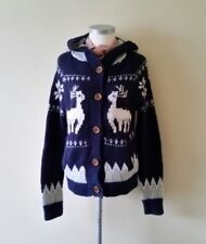 Johnnie B By Boden Purple Nordic Fairisle Chunky Hooded Cardigan Size 10 12