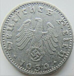 1939 D GERMANY 3rd Reich, 50 Reichspfennig Grading VERY FINE. Scarce Low Mintage