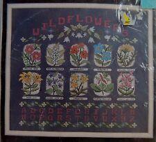 Wildflowers Sampler Cross Stitch Kit Alphabet Vtg Janlynn New Sealed 50-545